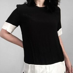 color block black and white blouse 🏴🏳️